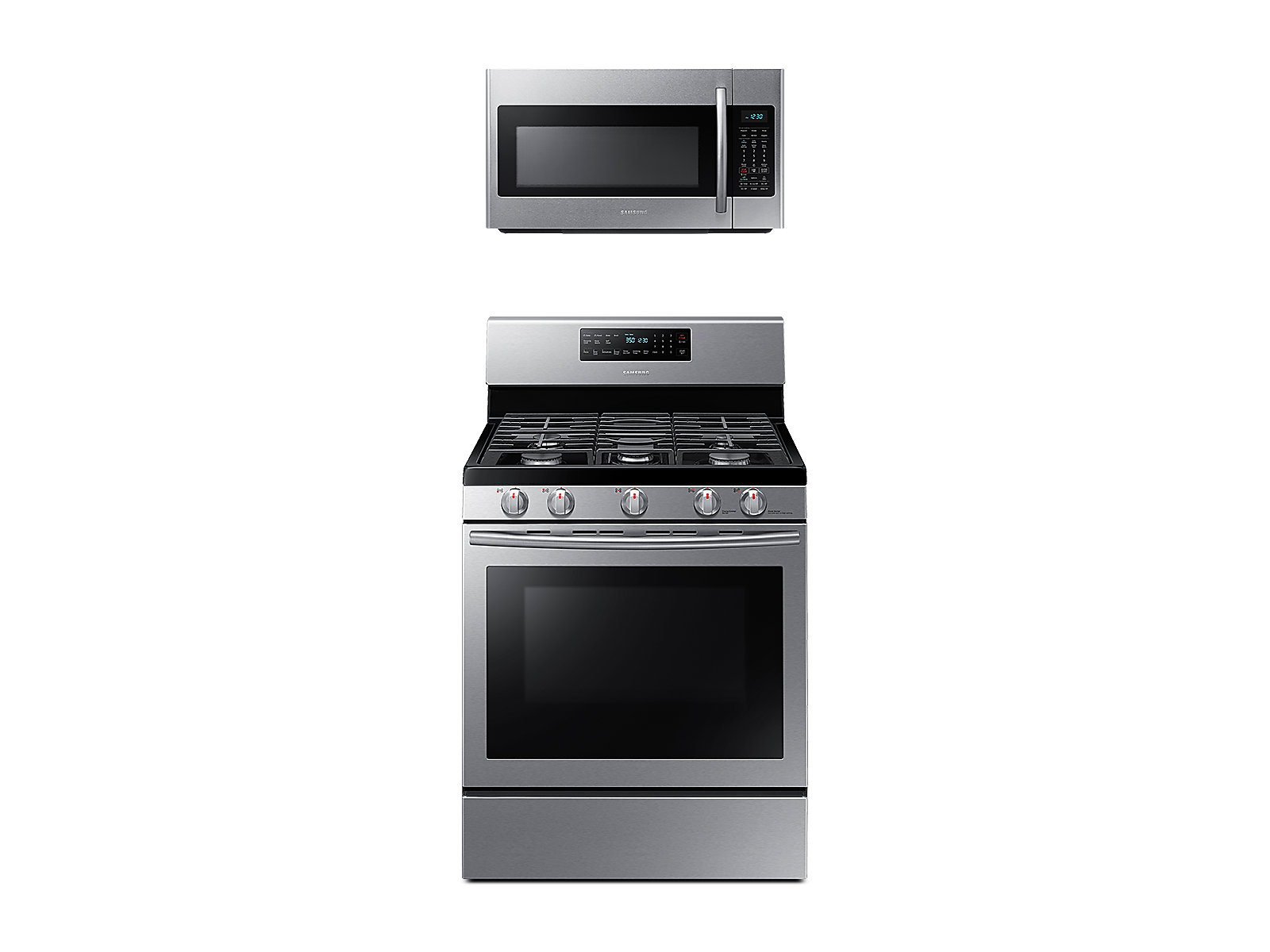 Samsung Freestanding Gas Range with Convection + Over-the-Range Microwave in Stainless Steel(BNDL-1580225821427)