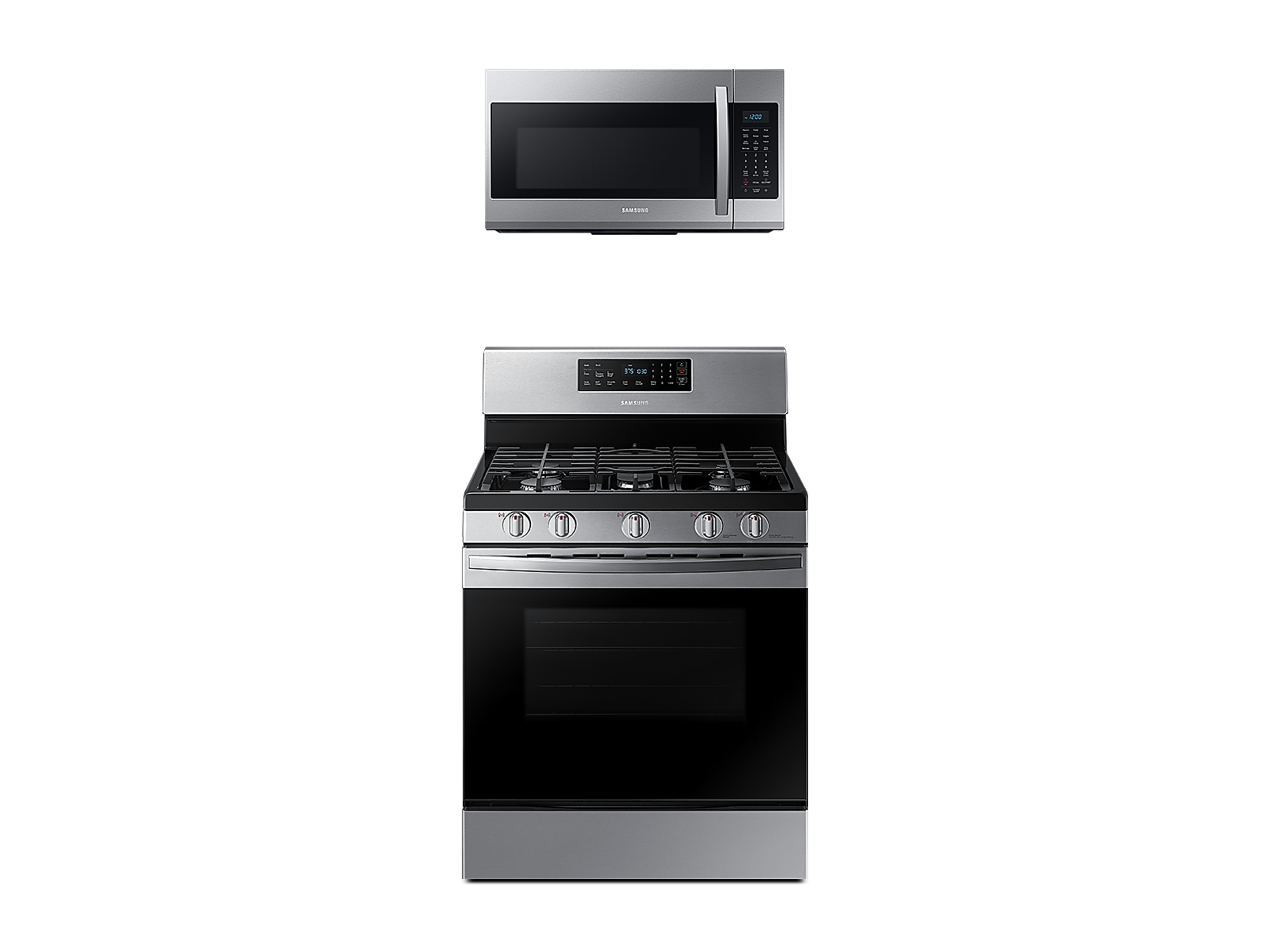 Samsung coupon: Samsung Freestanding Gas Range + Over-the-Range Microwave in Stainless Steel(BNDL-1580226046010)