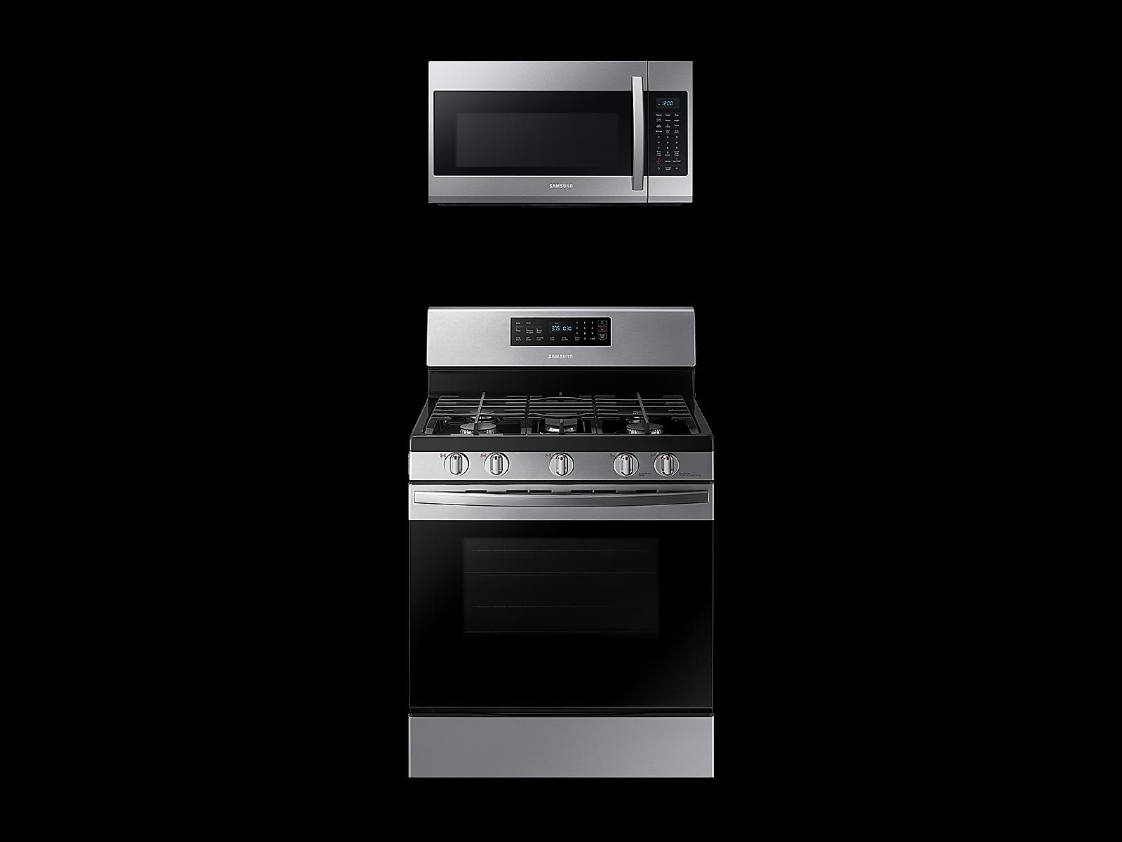 Samsung Freestanding Gas Range + Over-the-Range Microwave in Stainless Steel(BNDL-1580226046010)