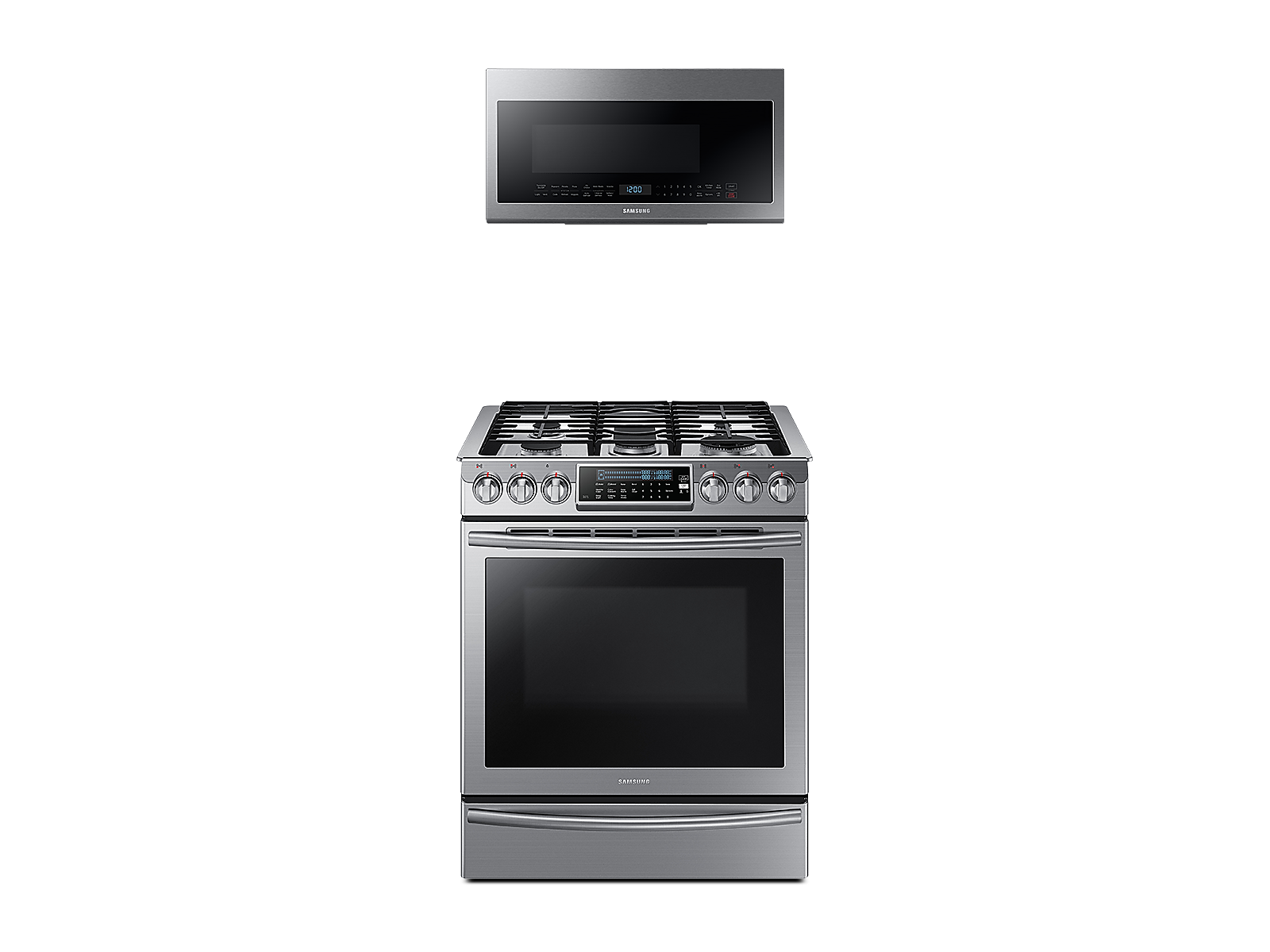 Samsung coupon: Samsung Slide-In Gas Range with True Convection + Over-the-Range Microwave in Stainless Steel(BNDL-1580226174992)