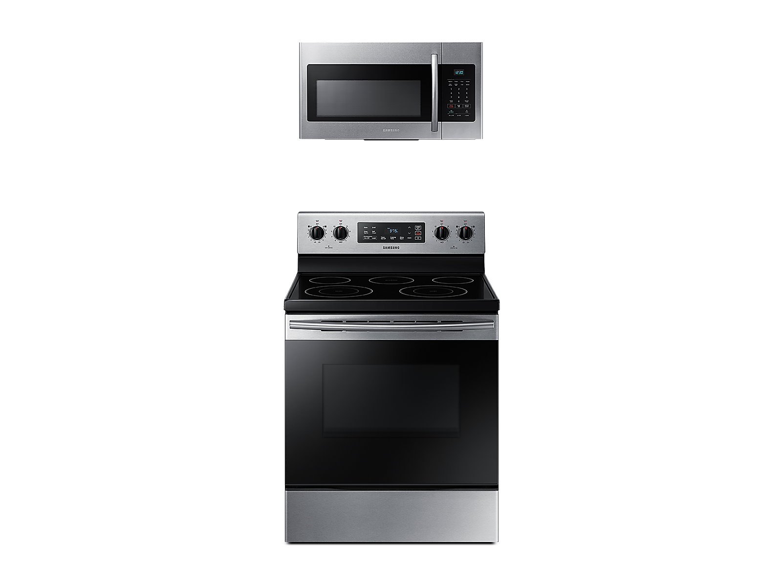 Samsung Freestanding Electric Range + Over-the-Range Microwave in Stainless Steel(BNDL-1580226951331)