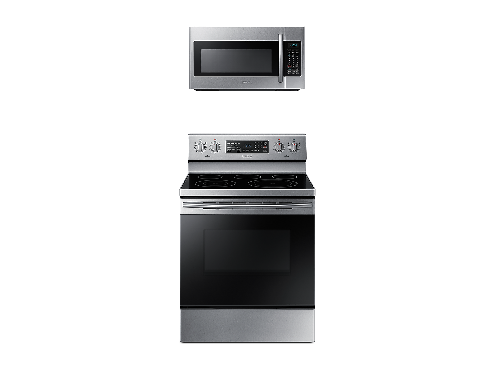 Samsung Freestanding Electric Range with Convection + Over-the-Range Microwave in Stainless Steel(BNDL-1580227280768)