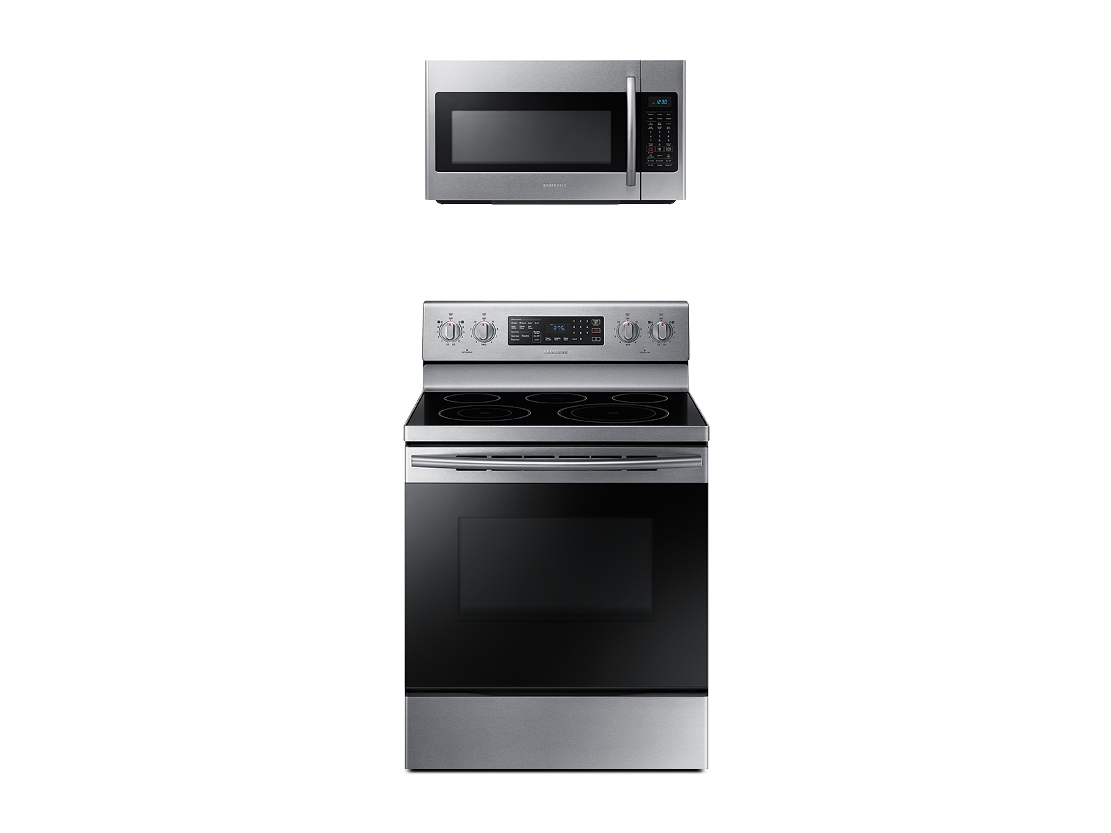 Samsung Freestanding Electric Range with Convection + Over-the-Range Microwave in Stainless Steel