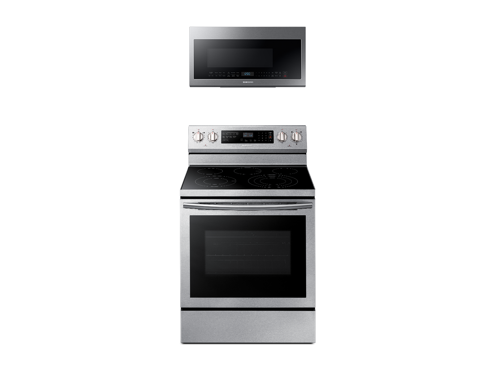Samsung Freestanding Electric Range with True Convetion + Over-the-Range Microwave in Stainless Steel