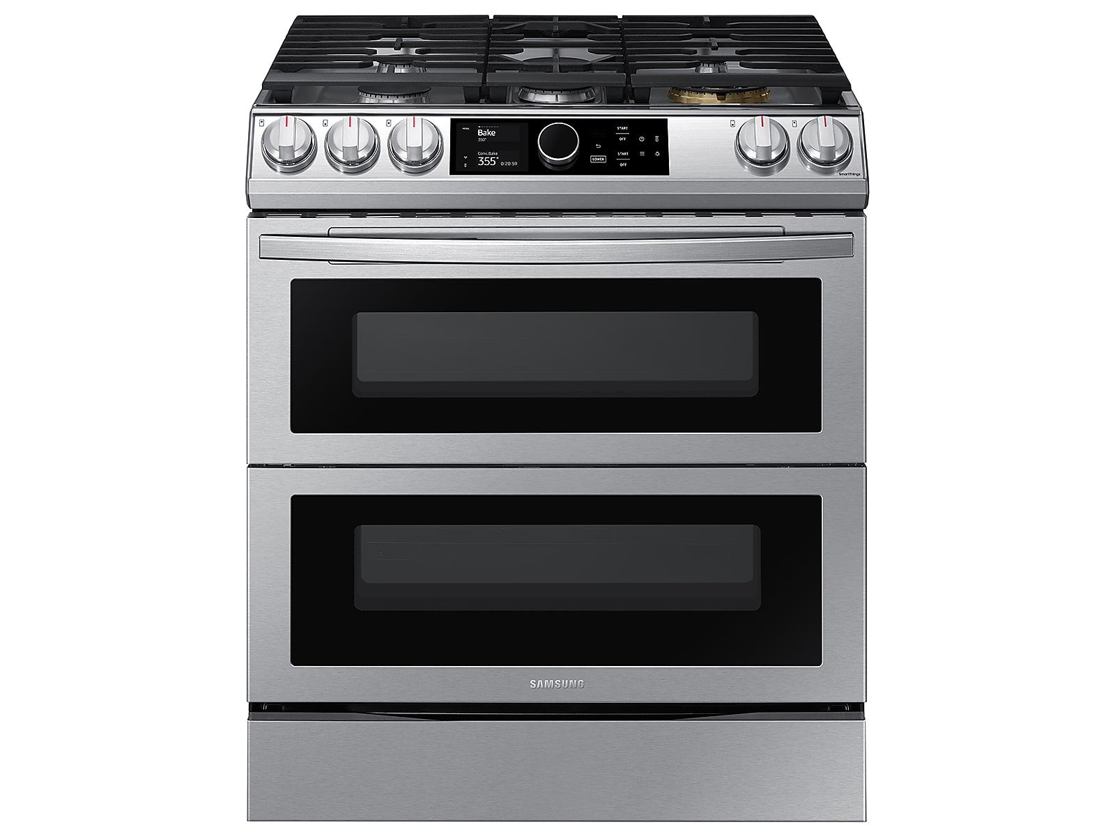 Samsung 6.3 cu ft. Smart Slide-in Gas Range with Flex Duo™, Smart Dial & Air Fry in Silver(NY63T8751SS/AA)
