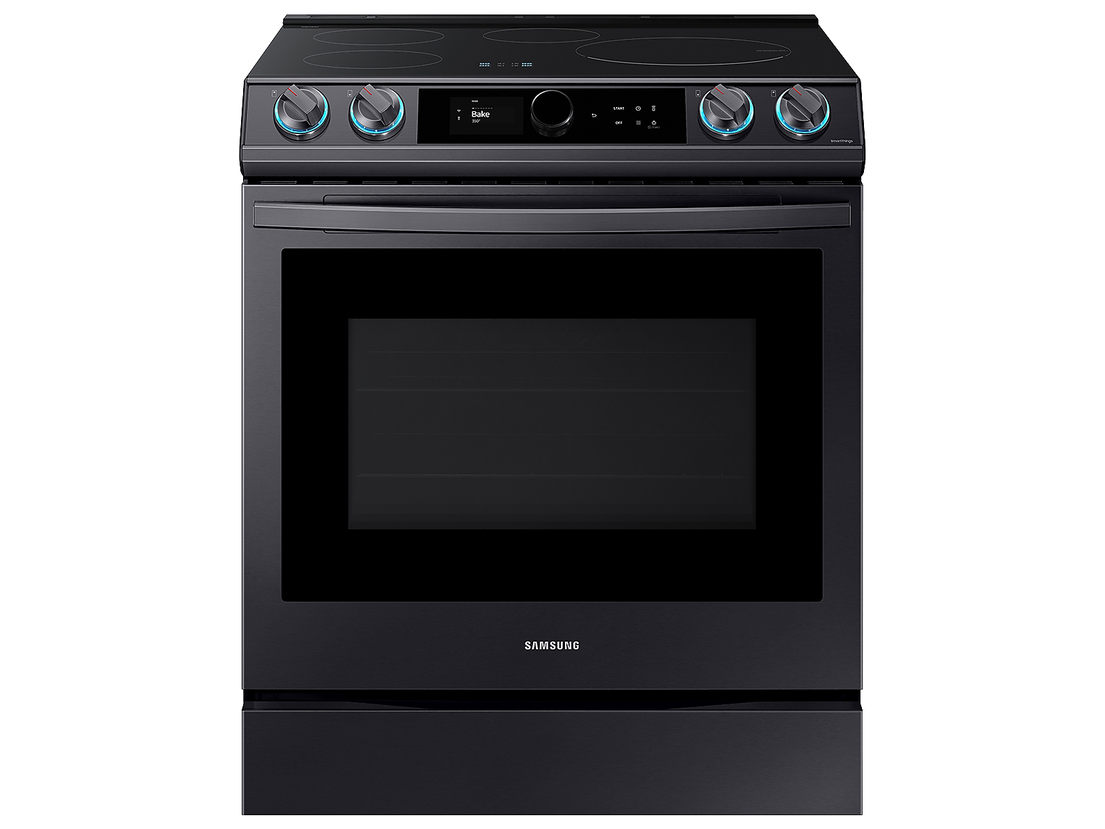 Samsung 6.3 cu. ft. Smart Slide-induction Range with Smart Dial & Air Fry in Black Stainless Steel(NE63T8911SG/AA)