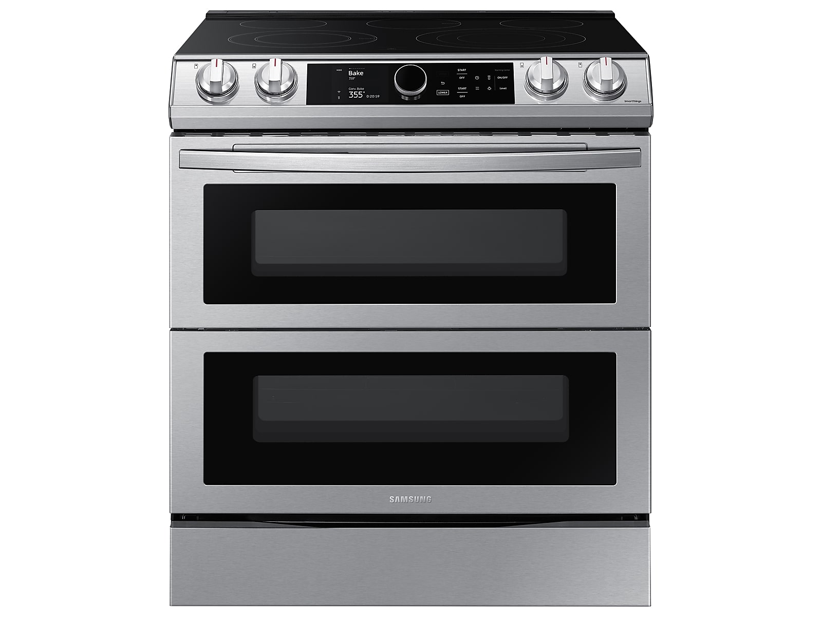 Samsung 6.3 cu ft. Smart Slide-in Electric Range with Smart Dial, Air Fry, & Flex Duo™ in Silver(NE63T8751SS/AA)