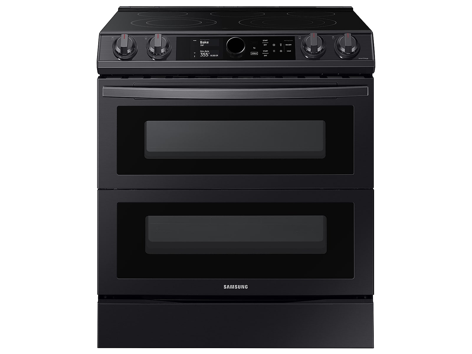 Samsung 6.3 cu ft. Smart Slide-in Electric Range with Smart Dial, Air Fry, & Flex Duo™ in Black Stainless Steel(NE63T8751SG/AA)