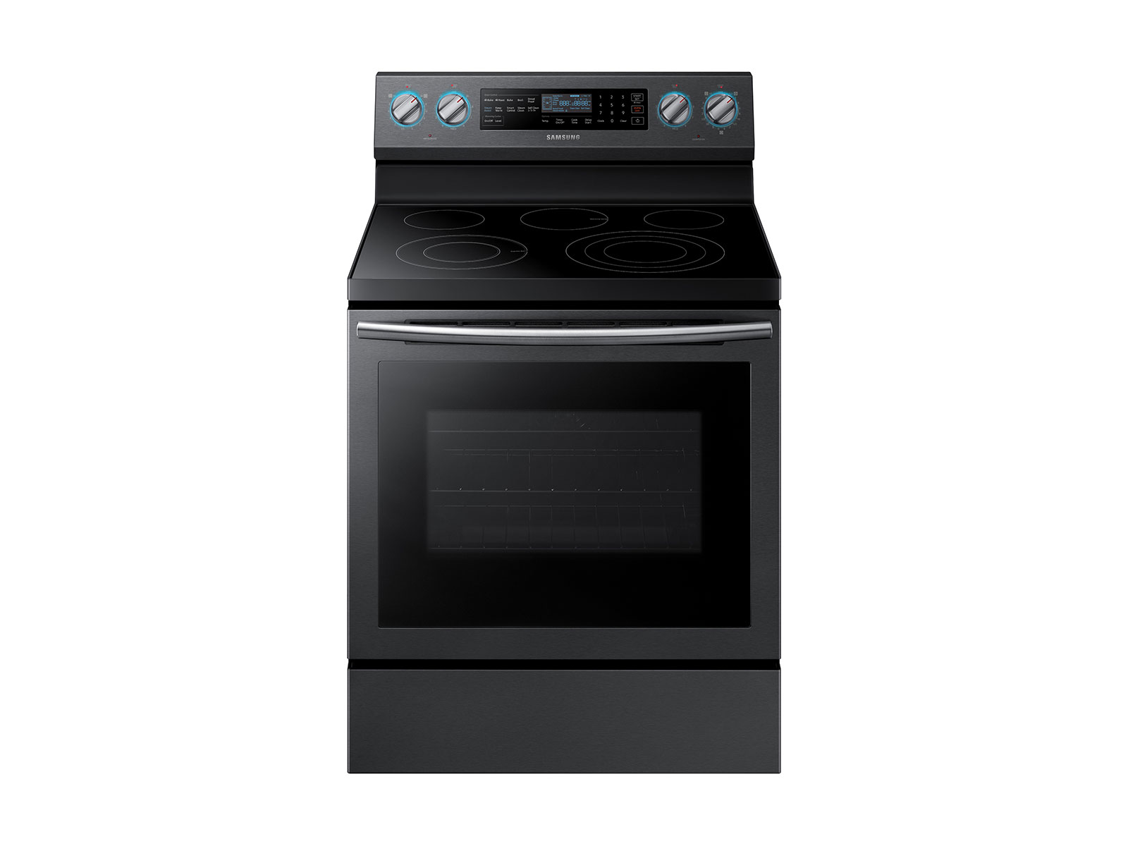 Samsung 5.9 cu. ft. Freestanding Electric Range with True Convection & Steam Assist in Black Stainless Steel, Fingerprint Resistant Black Stainless