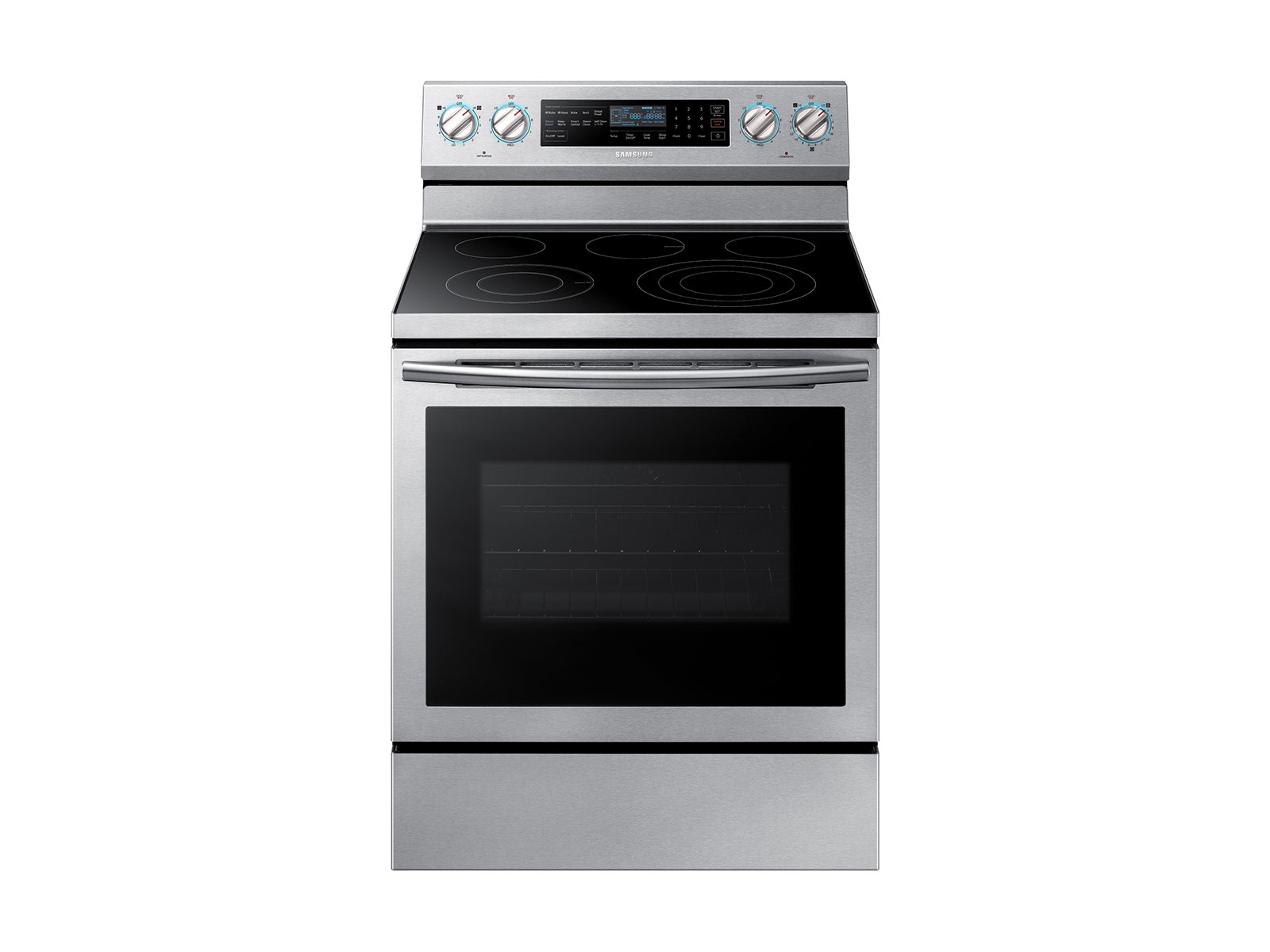 Samsung 5.9 cu. ft. Freestanding Electric Range with True Convection & Steam Assist in Stainless Steel, Silver