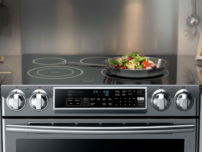 Slide In Induction Range With Virtual Flame™ Ranges   NE58K9560WS/AA |  Samsung US