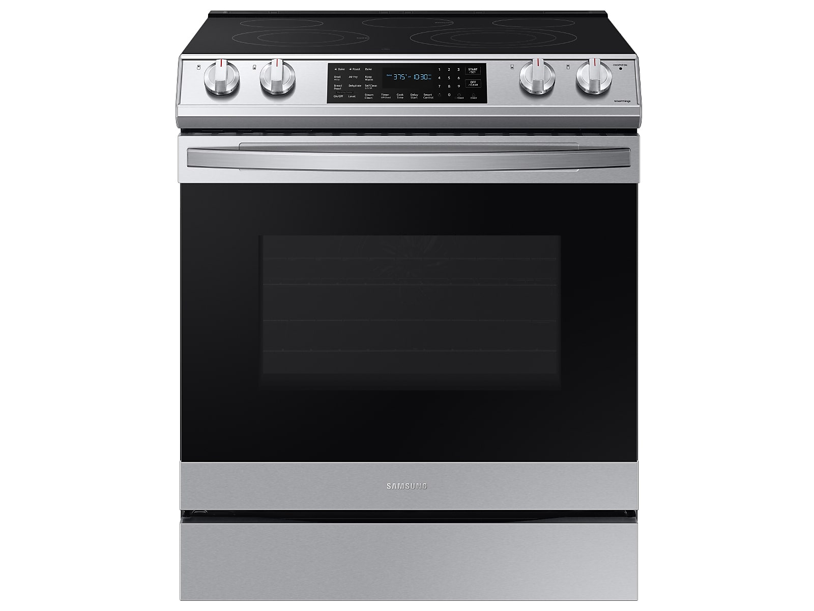 Samsung 6.3 cu. ft. Smart Slide-in Electric Range with Air Fry in Silver(NE63T8511SS/AA)