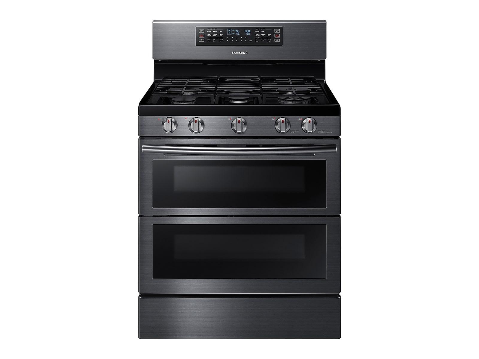 Samsung 5.8 cu. ft. Freestanding Gas Range with Flex Duo™ & Dual Door in Black Stainless Steel(NX58K7850SG/AA)