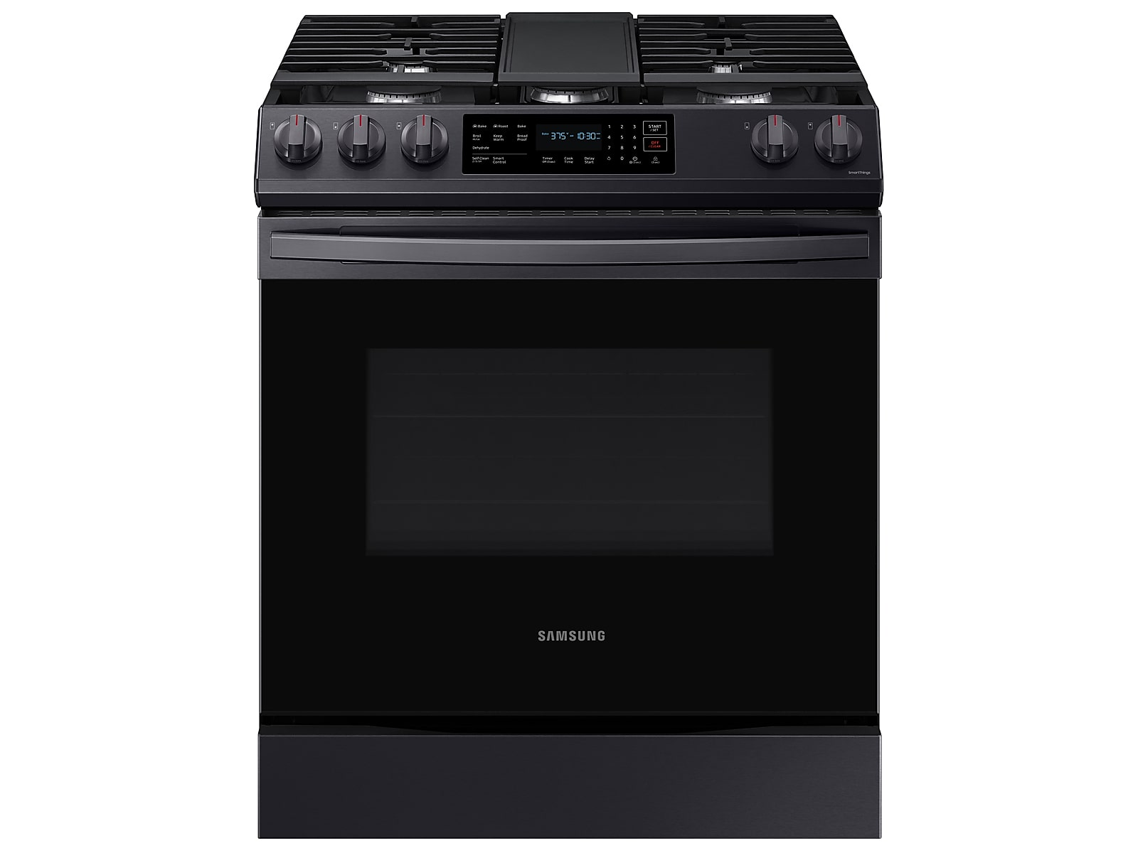 Samsung 6.0 cu. ft. Smart Slide-in Gas Range with Convection in Black Stainless Steel(NX60T8311SG/AA)