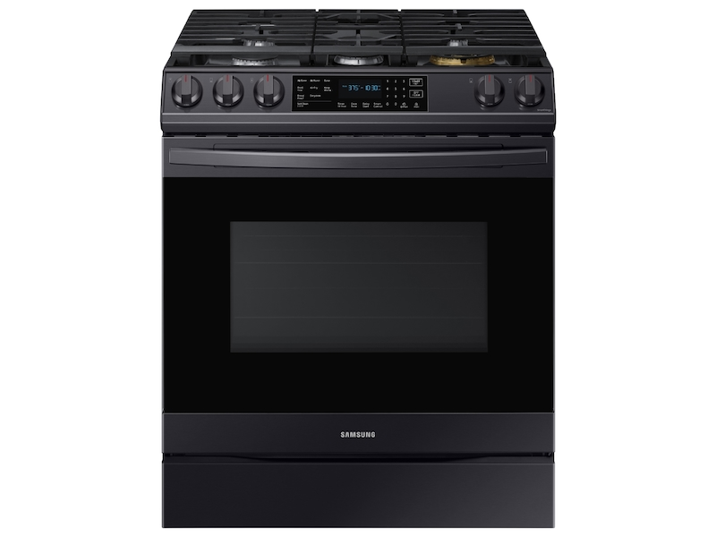 Samsung 6.0 cu. ft. Front Control Slide-in Gas Range - Black Stainless Steel