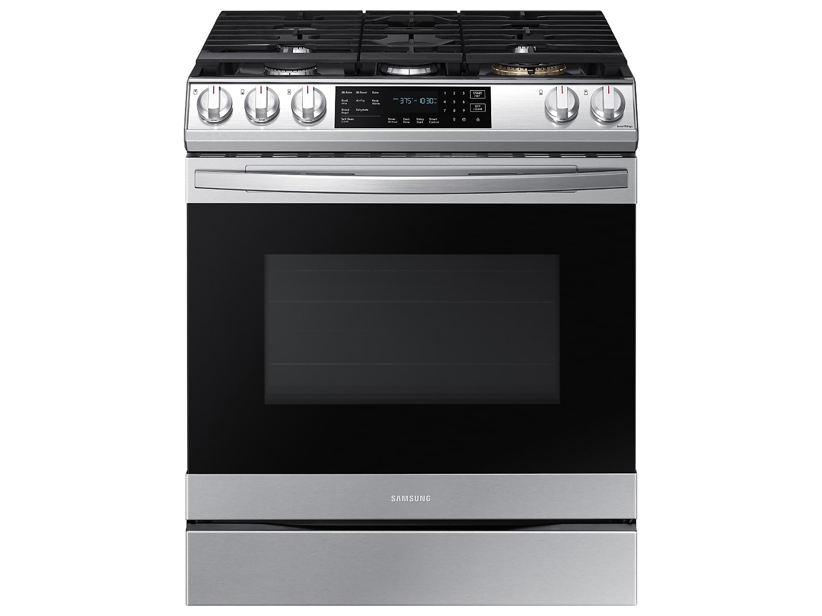 Samsung 6.0 cu. ft. Smart Slide-in Gas Range with Air Fry in Silver(NX60T8511SS/AA)