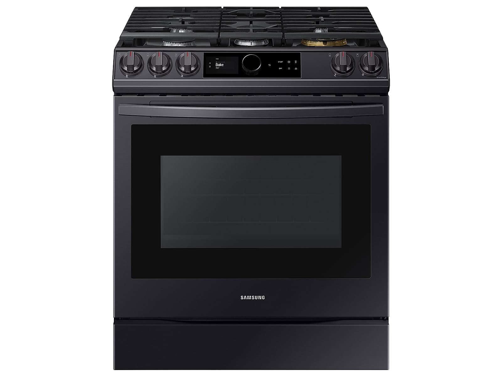 Samsung 6.0 cu ft. Smart Slide-in Gas Range with Smart Dial & Air Fry in Black Stainless Steel(NX60T8711SG/AA)