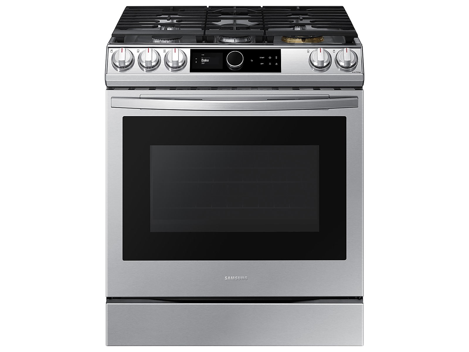 Samsung 6.0 cu. ft. Front Control Slide-in Gas Range with Smart Dial, Air Fry & Wi-Fi in Silver(NX60T8711SS/AA)