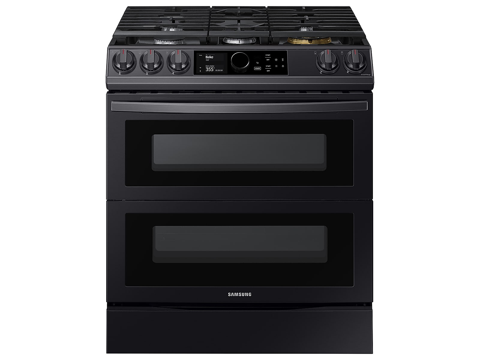 Samsung 6.0 cu ft. Smart Slide-in Gas Range with Flex Duo™, Smart Dial & Air Fry in Black Stainless Steel(NX60T8751SG/AA)