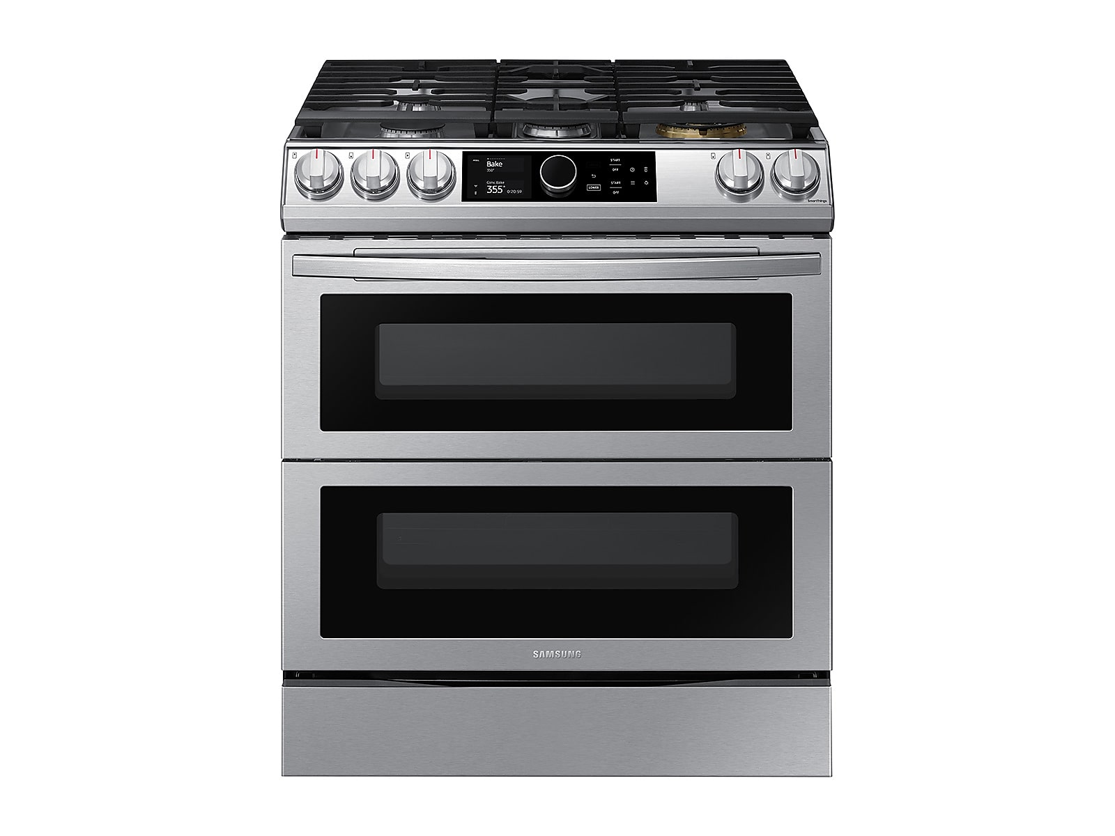 Samsung 6.0 cu ft. Smart Slide-in Gas Range with Flex Duo™, Smart Dial & Air Fry in Silver(NX60T8751SS/AA)