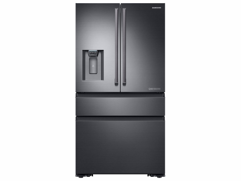 23 Cu Ft Counter Depth 4 Door French Freestanding Chef Collection Refrigerator In Matte Black Stainless Steel
