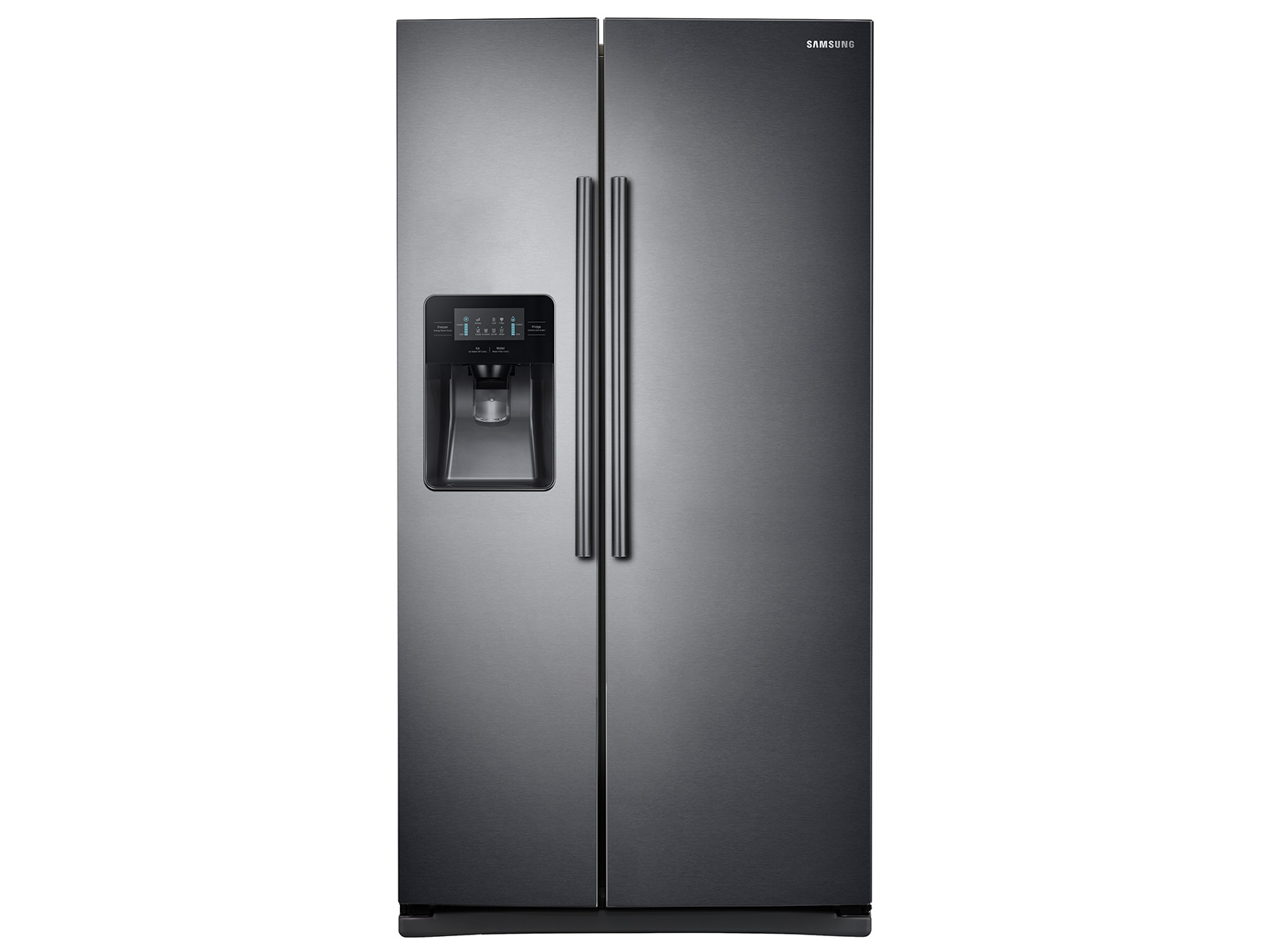25 cu. ft. Side-by-Side Refrigerator with LED Lighting in Black Stainless Steel