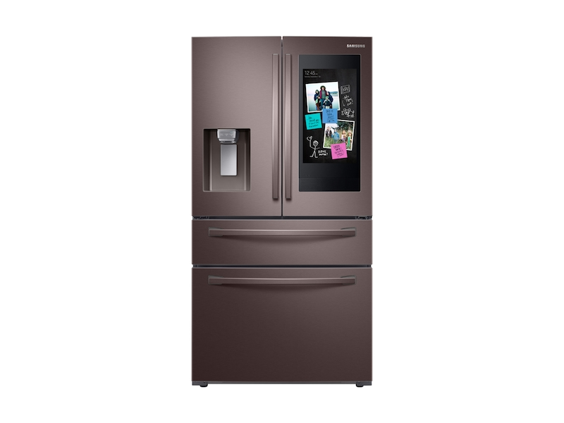 """22 cu  ft  4-Door French Door, Counter Depth Refrigerator with 21 5"""" Touch  Screen Family Hub™ in Tuscan Stainless Steel"""
