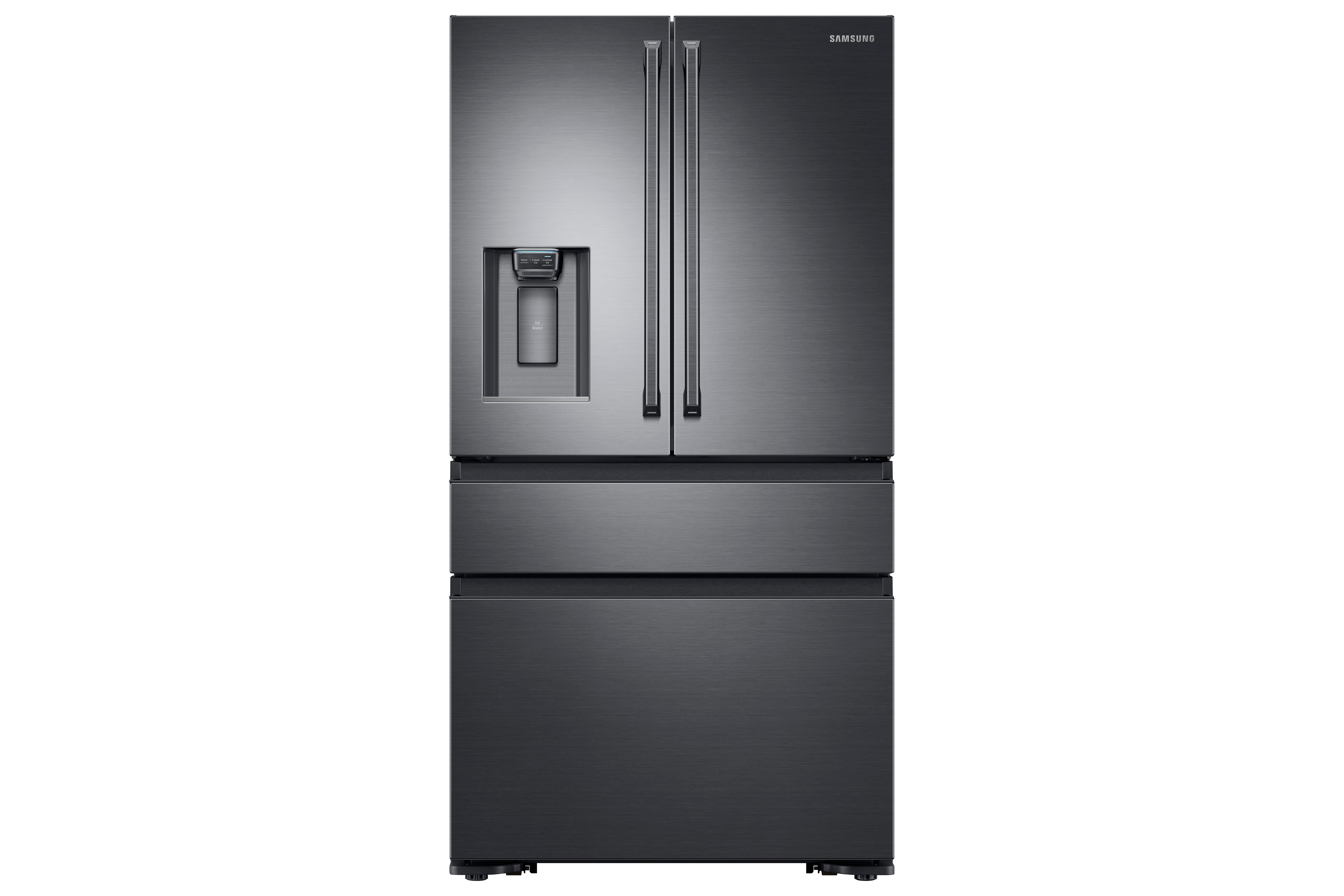 Shop 23 cu. ft. Counter Depth 4-Door French Door Refrigerator with Polygon Handles in Black Stainless Ste from Samsung on Openhaus