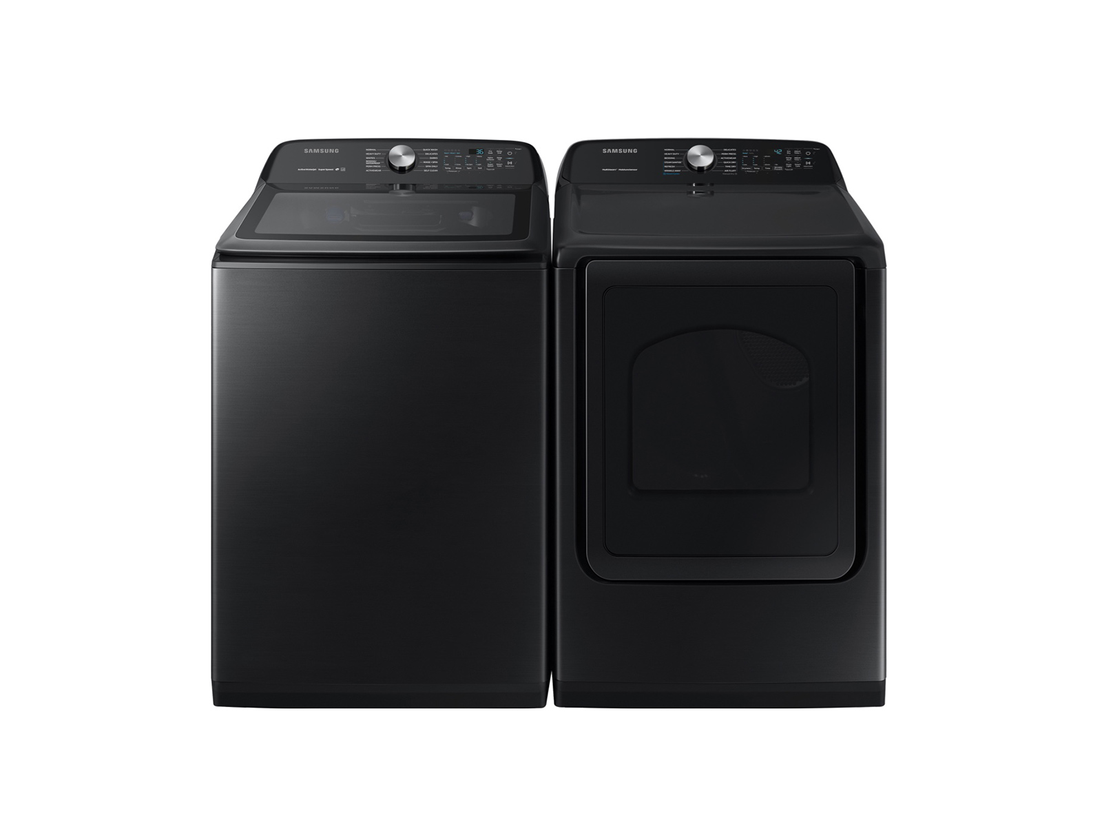 Samsung Top Load Washer & Dryer set with Super Speed and Steam Sanitize+ in Black Stainless Steel, Fingerprint Black Resistant Stainless Steel -