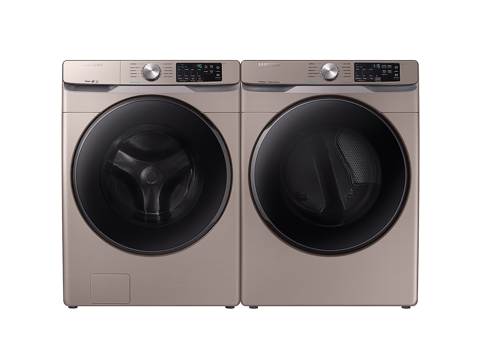 Samsung coupon: Samsung Front Load Washer & Dryer Set with Steam and Steam Sanitize+ in Champagne(BNDL-1579764797389)