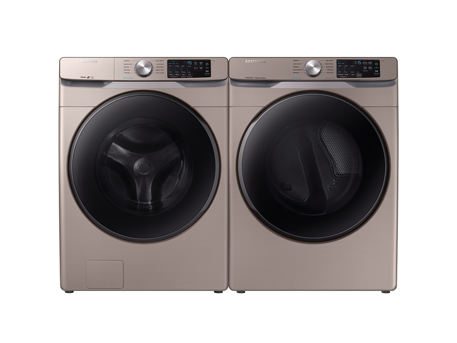 Samsung Front Load Washer & Dryer Set with Steam and Steam Sanitize+ in Champagne(BNDL-1579764797389) - Laundry Washing Machine