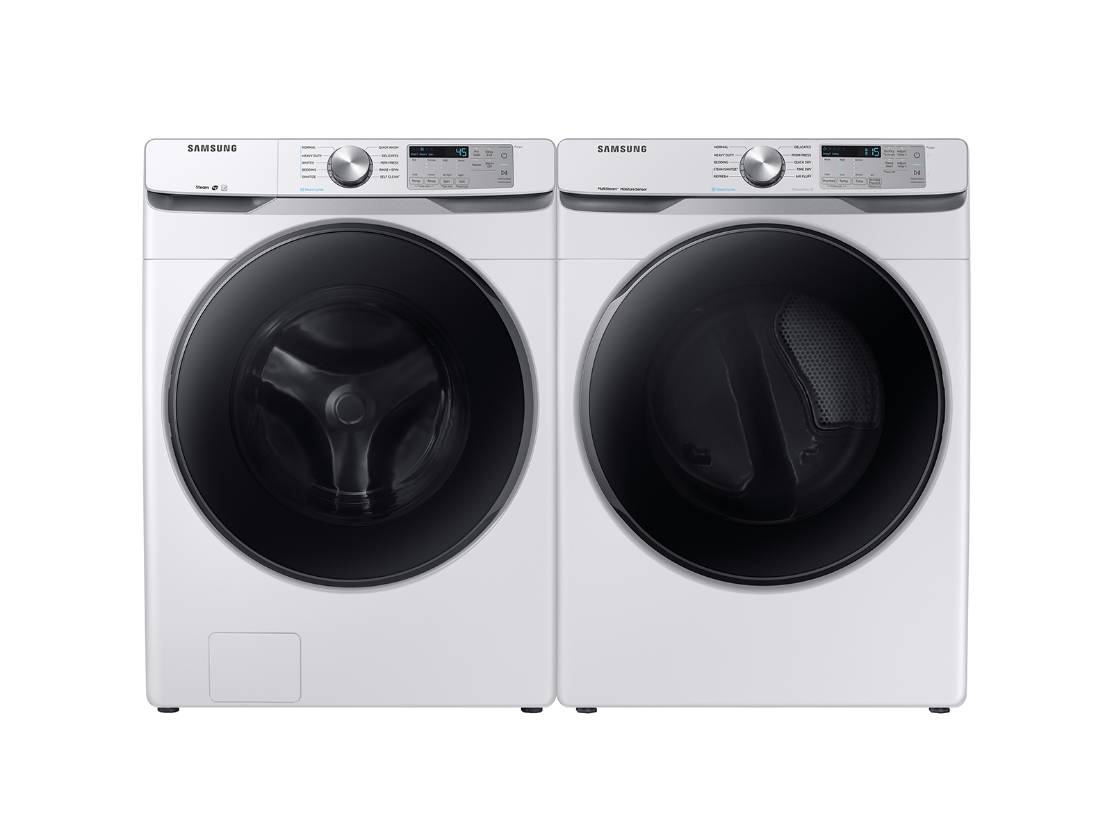 Front Load Washer & Dryer set with Steam in White