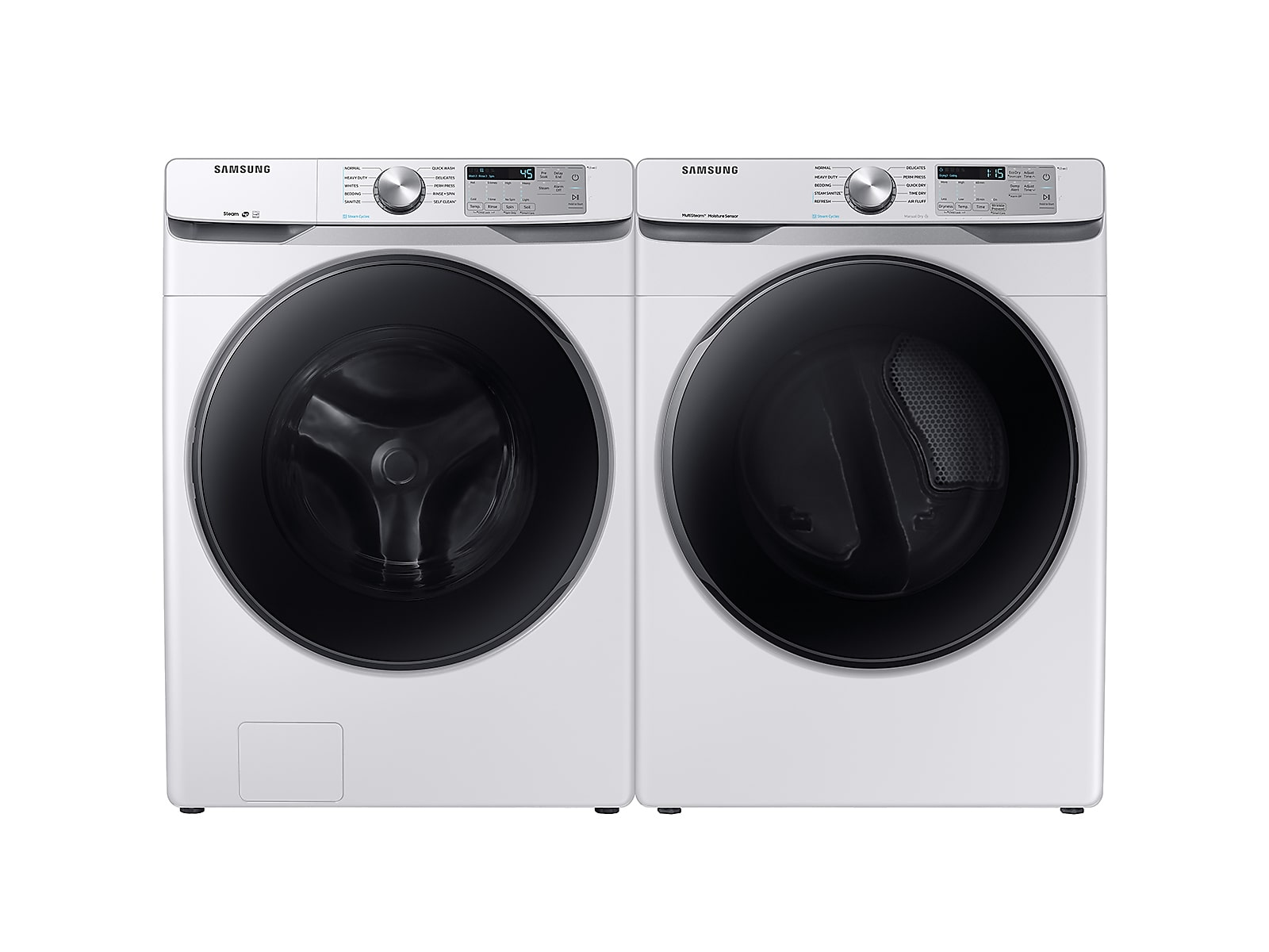 Samsung coupon: Samsung Front Load Washer & Dryer Set with Steam and Steam Sanitize+ in White(BNDL-1579764593227)