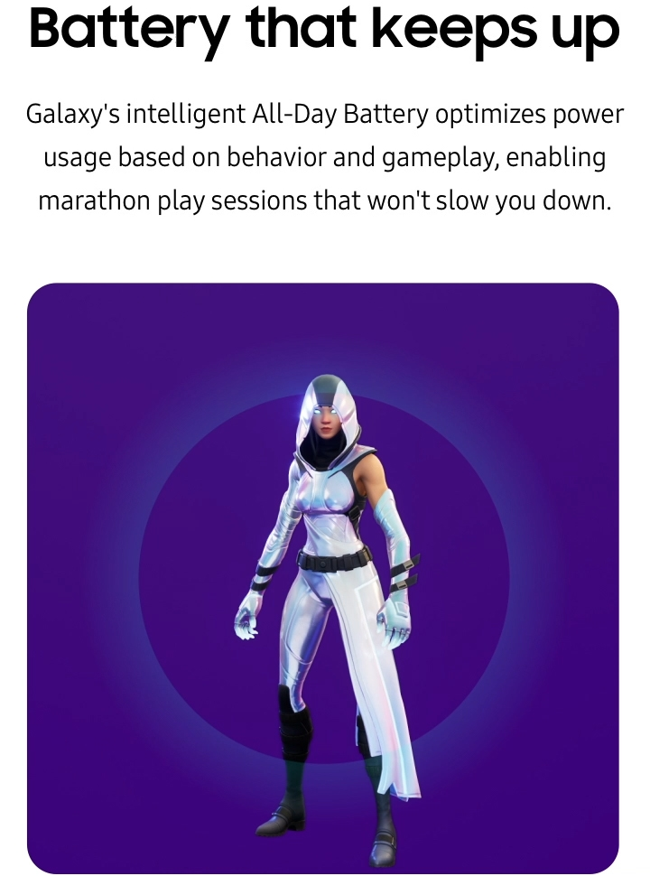 The Samsung Galaxy Fortnite outfit, GLOW, performs her Levitate emote while in front of a battery charging screen from a Galaxy device.