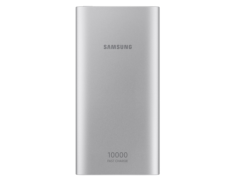 10,000 mAh Portable Battery with USB-C Cable, Silver