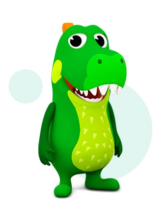 Simulated image of Crocro the crocodile from the Kids Home village with the icon for Crocro's Friends Village application.