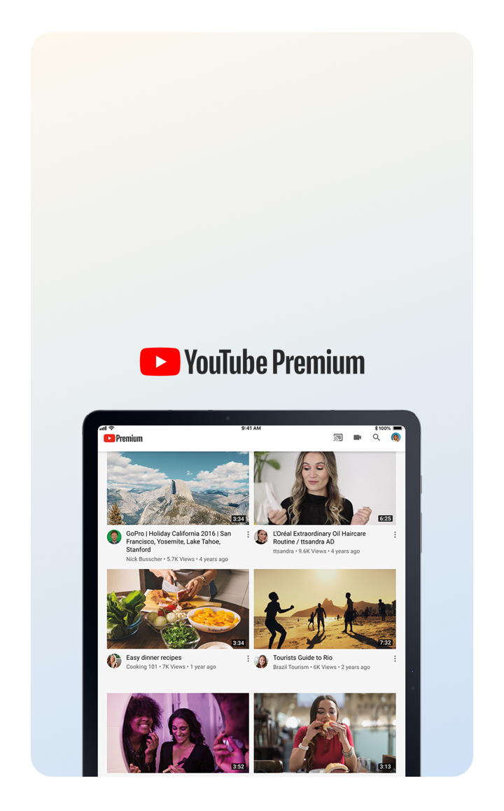 Ad-free YouTube included.¹¹