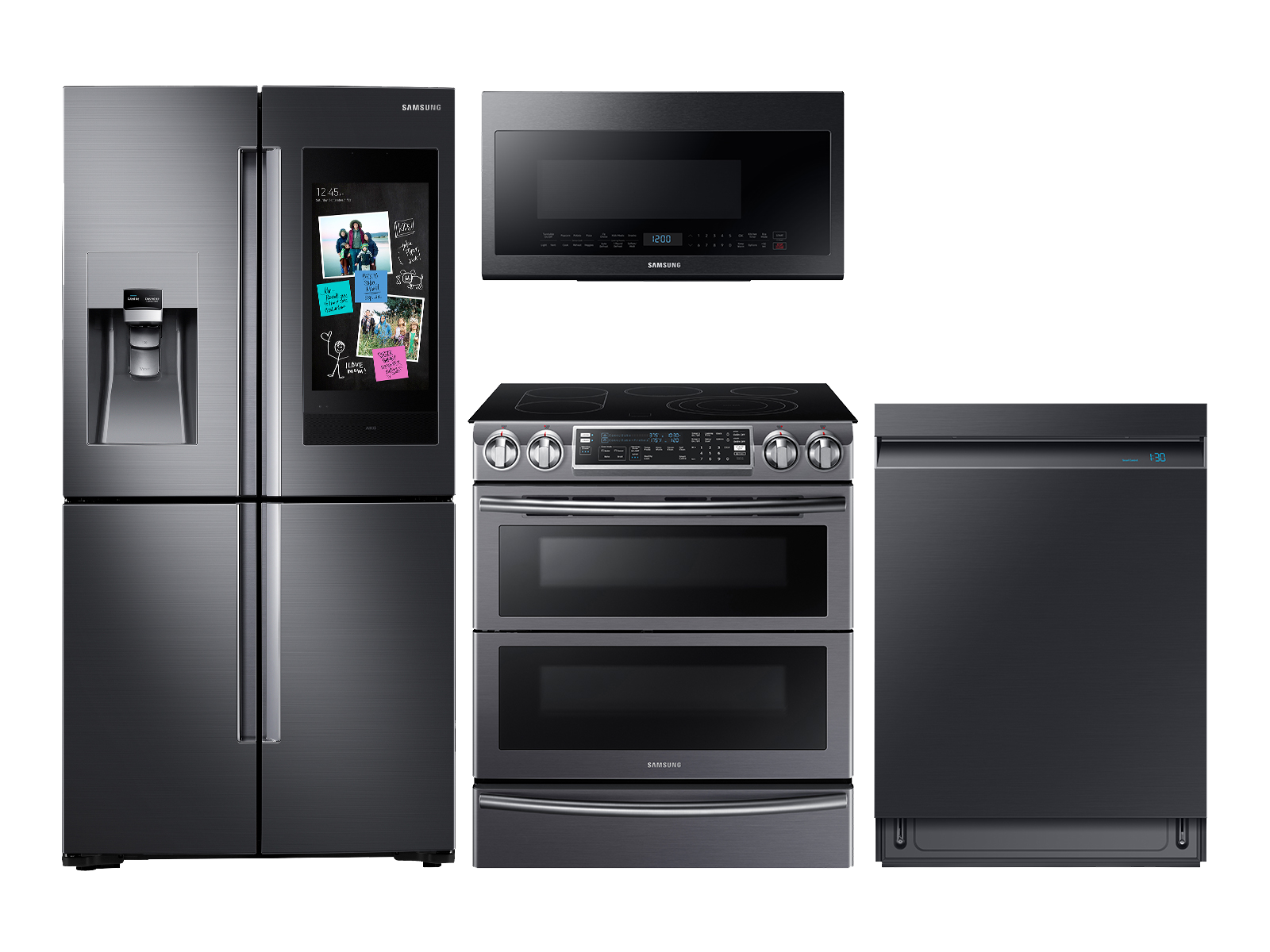 Samsung Family Hub Refrigerator + Slide-in Electric Range + Linear Wash Dishwasher + Microwave Kitchen Package in Black Stainless