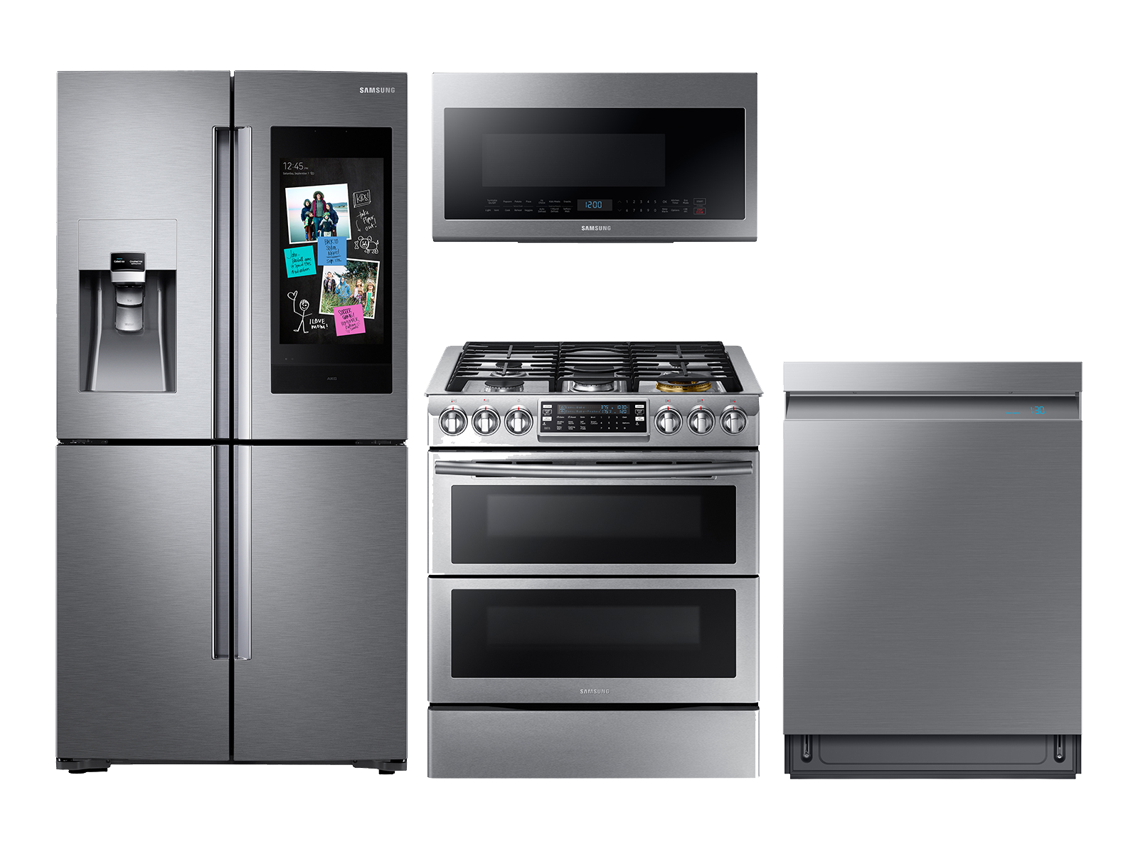 Samsung Family Hub Refrigerator + Slide-in Gas Range + Linear Wash Dishwasher + Microwave Kitchen Package in Stainless Steel