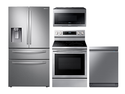 Samsung 4-Door Refrigerator + Electric Range + Dishwasher + Microwave
