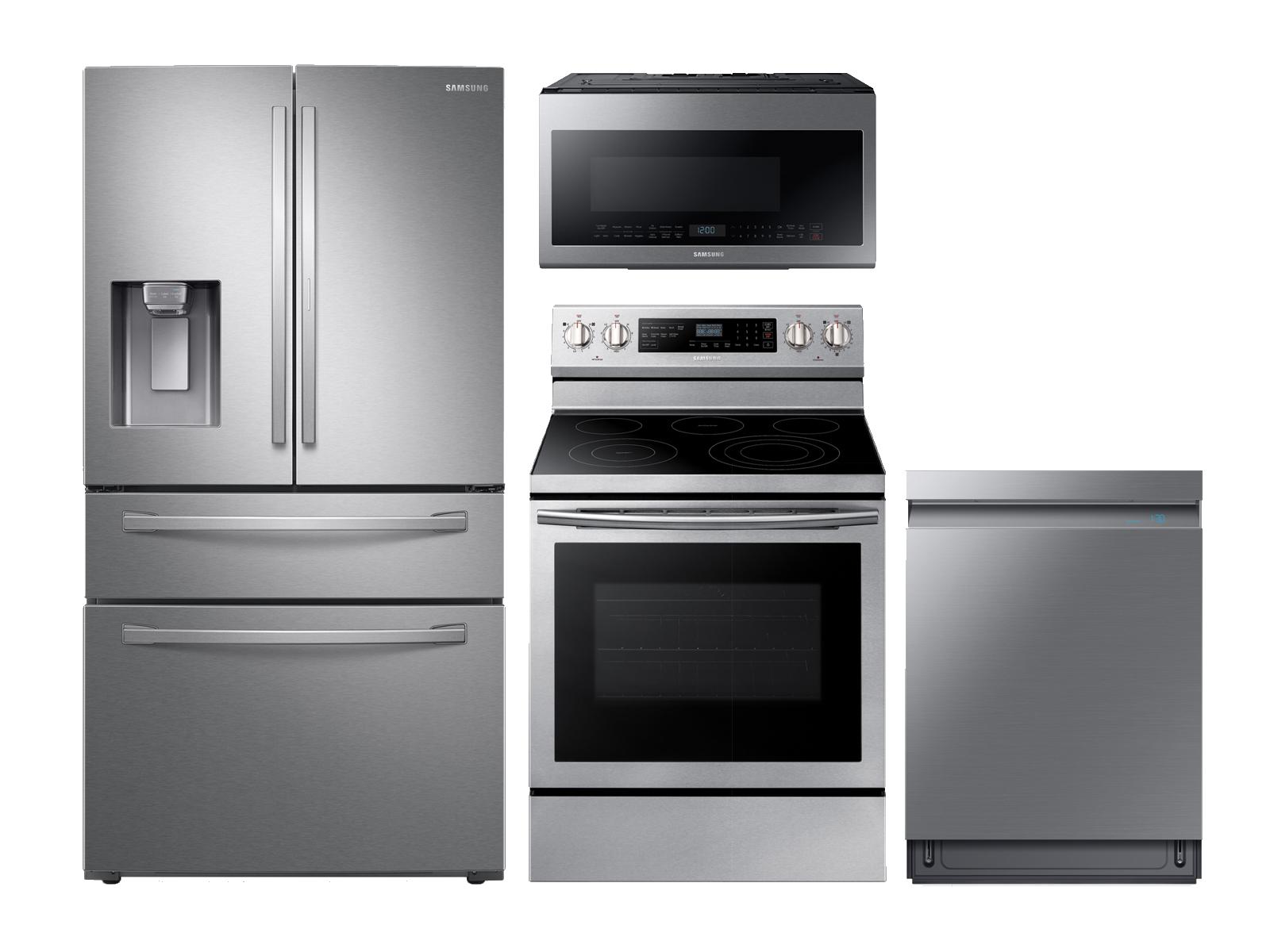 Samsung 4-door Refrigerator + Electric Range + Linear Wash Dishwasher + Microwave Kitchen Package in Stainless Steel