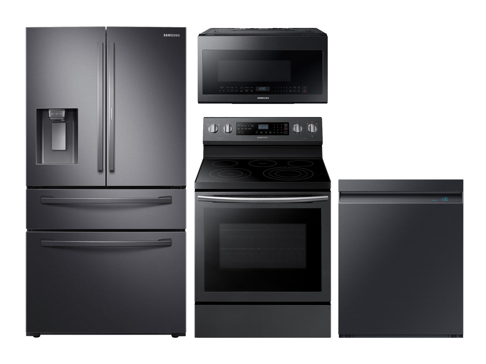 Samsung 4-door Refrigerator + Electric Range + Linear Wash Dishwasher + Microwave Kitchen Package in Black Stainless