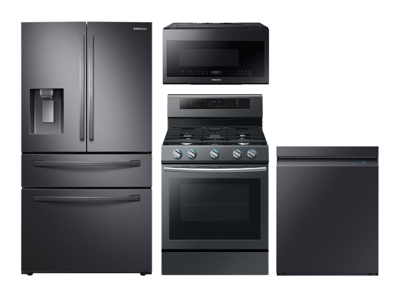 Samsung 4-door Refrigerator + Gas Range + Linear Wash Dishwasher + Microwave Kitchen Package in Black Stainless