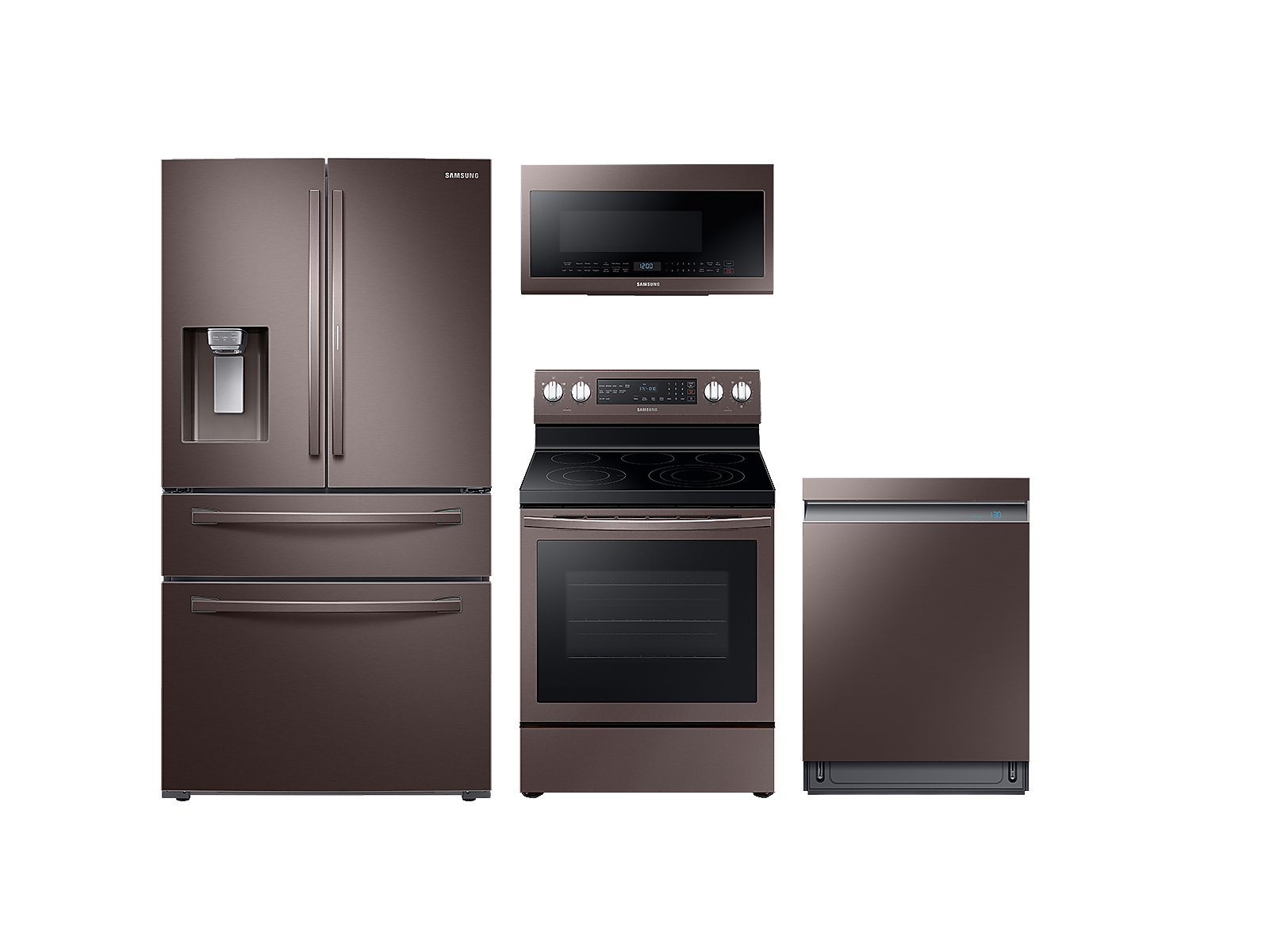 Samsung coupon: Samsung 4-door Refrigerator + Electric Range + Linear Wash Dishwasher + Microwave Kitchen Package in Tuscan Stainless(BNDL-1561027345608)