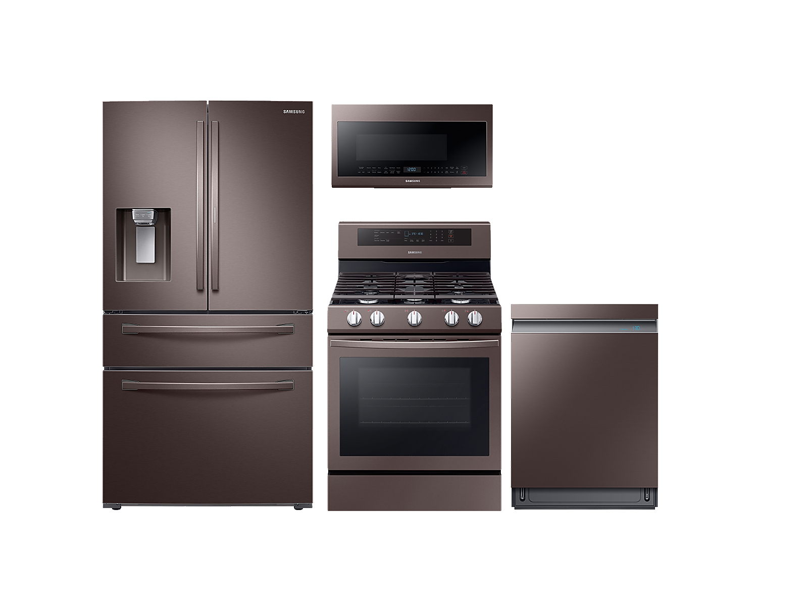 Samsung coupon: Samsung 4-door Refrigerator + Gas Range + Linear Wash Dishwasher + Microwave Kitchen Package in Tuscan Stainless(BNDL-1561027656961)