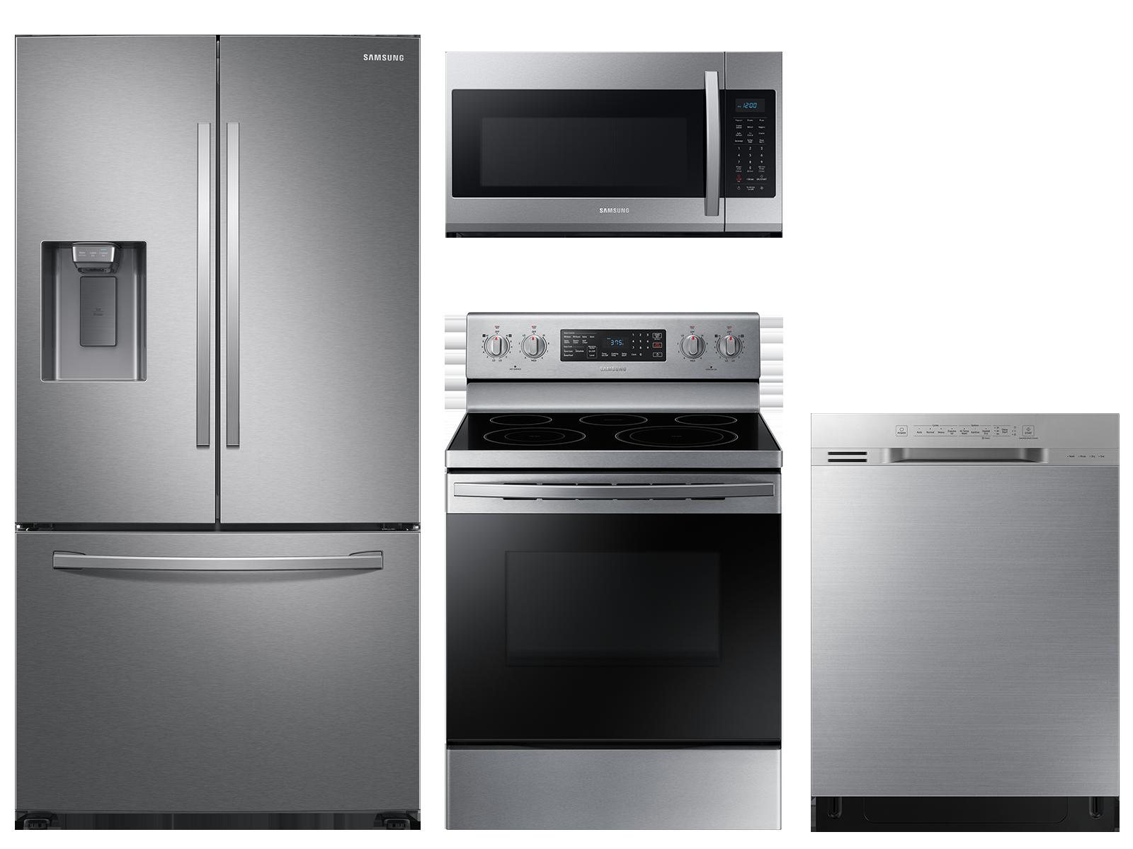 Large capacity 3-door refrigerator & electric range package in stainless steel