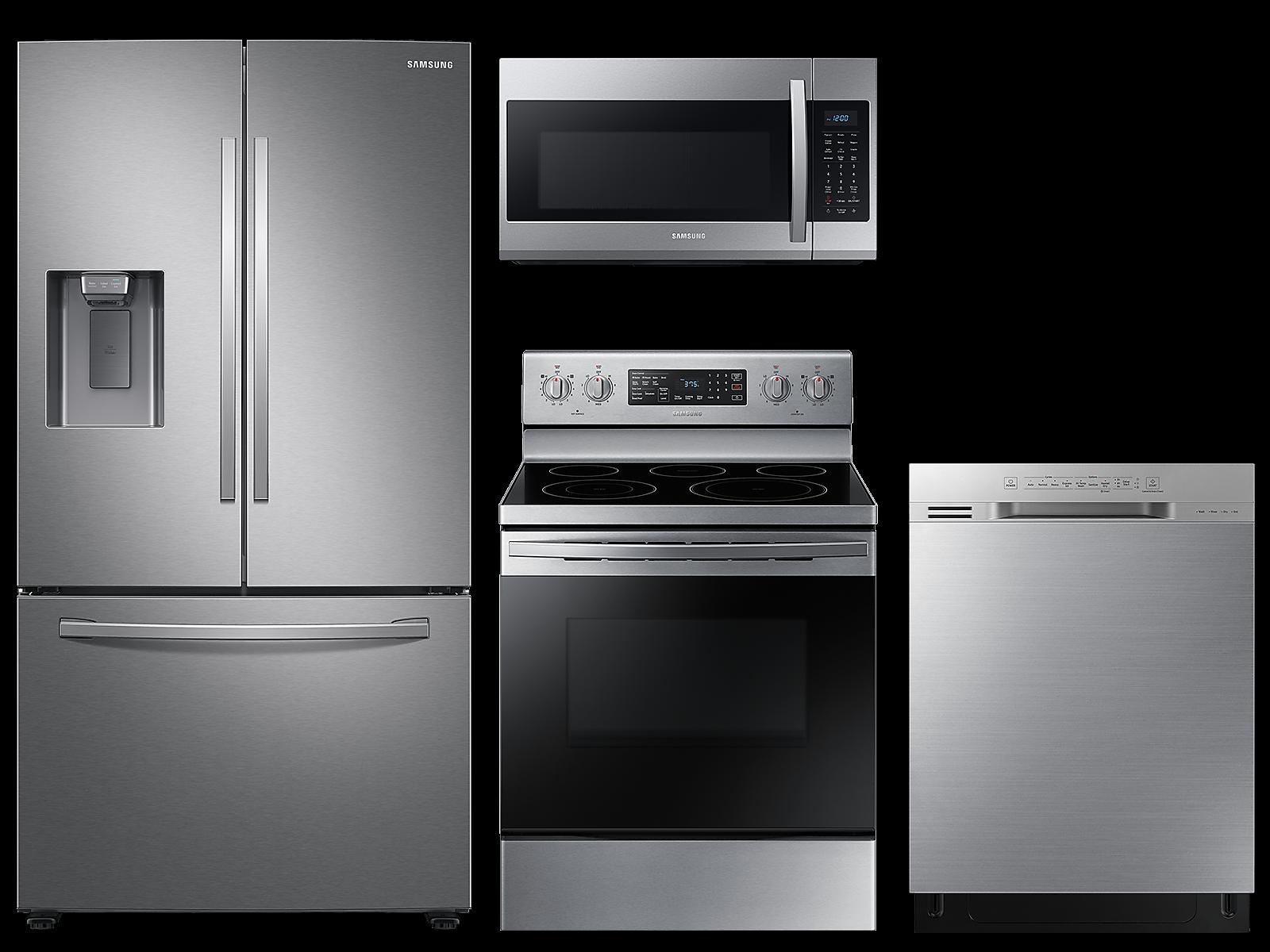 Samsung coupon: Samsung Large capacity 3-door refrigerator & electric range package in Stainless Steel(BNDL-1590161274268)