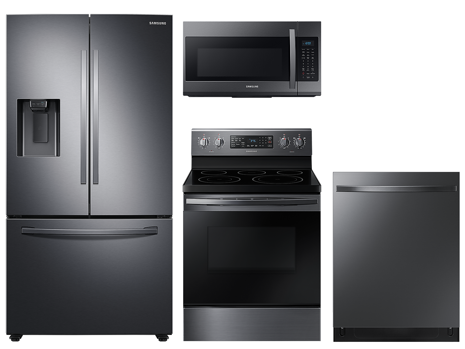Samsung coupon: Samsung Large capacity 3-door refrigerator & electric range package in Black stainless(BNDL-1590165023311)