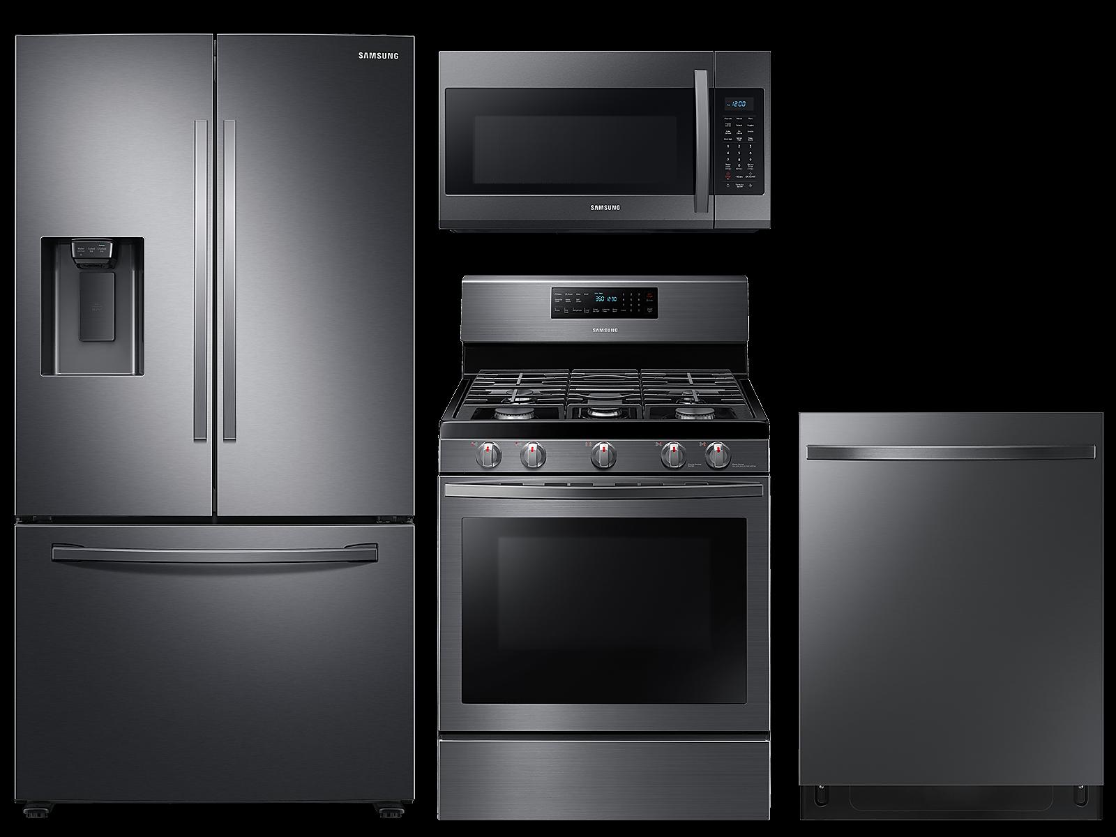 Samsung coupon: Samsung Large capacity 3-door refrigerator & gas range package in Black stainless(BNDL-1590166155500)