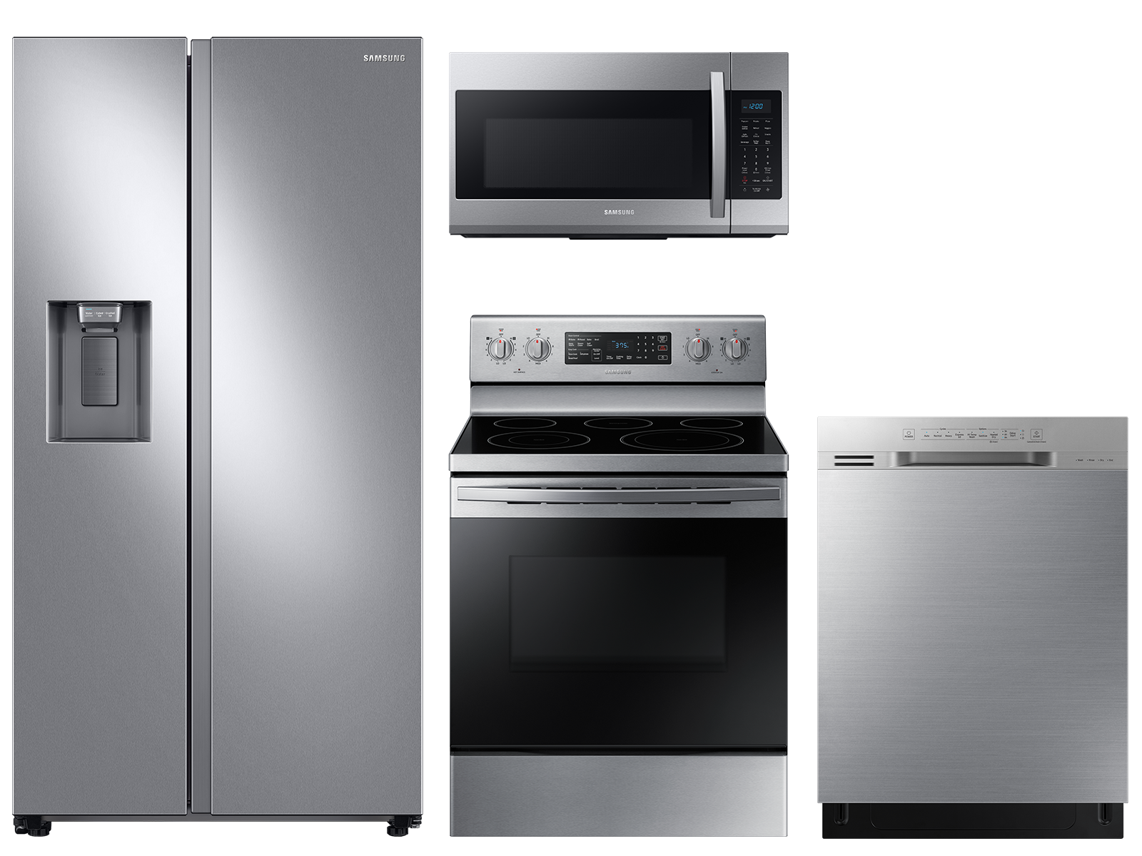 Samsung Counter depth Side-by-Side refrigerator & electric range package in stainless steel
